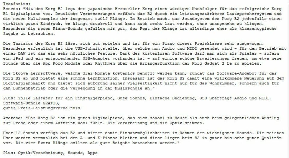 KORG B2_Digital Piano + STAND_88 NH Tasten_Lautsprecher_USB_NEU in Frammersbach