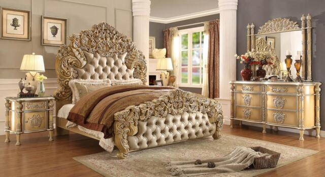 Homey Design Hd-5801 Luxury Ivory Antique Gold Tufted Headboard ...