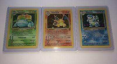 Charizard, Blastoise, Venusaur - Pokémon Card Lot - Base Set 2 Rare Holos