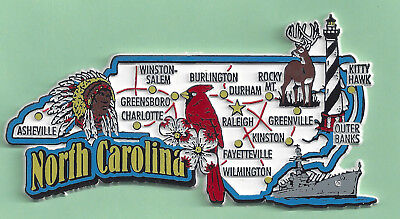NORTH  CAROLINA    STATE MAP JUMBO  MAGNET  7 COLOR  RALEIGH, CHARLOTTE, DURHAM