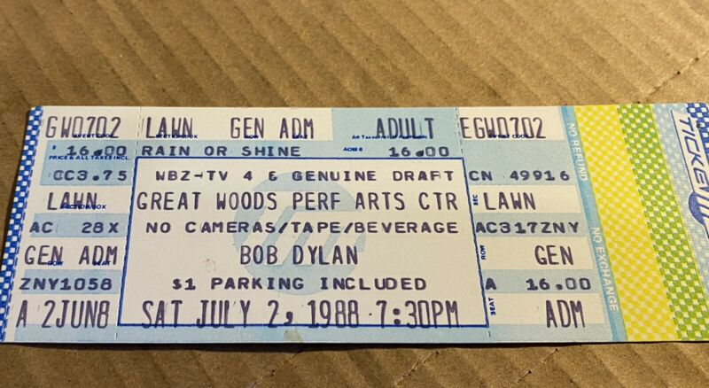 Great Woods 1988  Bob Dylan Concert  FULL Ticket Whole Never Ending TourShow #17