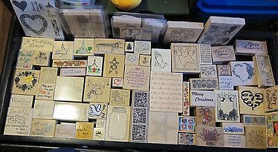 Lot of 77 Wood Mounted Rubber Stamps Assorted Brands & Subjects  See Pictures!!
