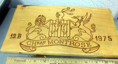 European Wood Wine Crate Panel, 1975 Chateau Montrose, 12 x 6.5 in