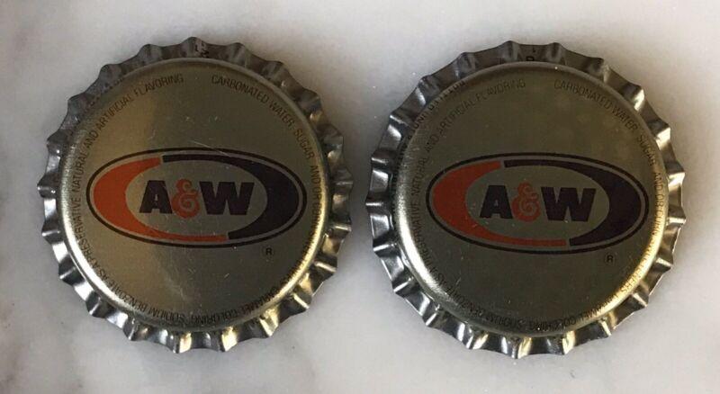 2 A&W Root Beer Soda Unused Crown Bottle Caps