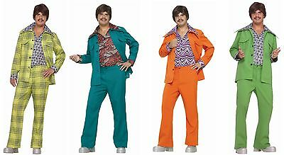 Mens Leisure Suit Costume 70s Disco Hippie Green Orange Blue Plaid Jacket - Hippie Costumes For Mens