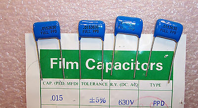 Qty 50 .015uf 630v 5 Radial Polyester Film Capacitors 153ppd630j