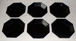 ARCOROC OCTIME 6 x SUPPENTELLER - TELLER , achteckig schwarz France 8-eckig  ✨