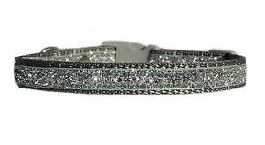 GRIS-PLATA-034-Sparkle-034-Pequeno-collar-para-Cachorro-20-3-30-5cm-1-3cm-amp-O