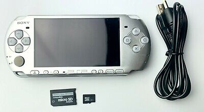 SILVER Sony PSP 3000 3001 System with Charger, 32GB Memory Card - VGC