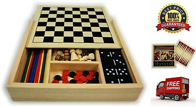 5 In 1 Wooden Board Game Set Chess Checkers Dominoes Pick Up Sticks Backgammon