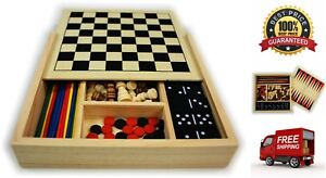 5-in-1 Wooden Board Game Set Chess Checkers Dominoes Pick Up Sticks Backgammon