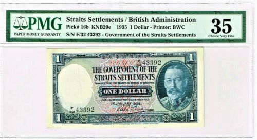 Straits Settlements: 1935 One Dollar. Pick# 16b. PMG graded Choice Very Fine 35.