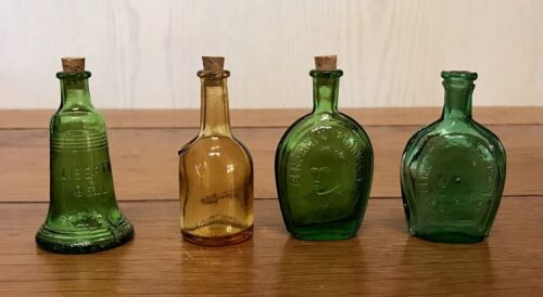 4 Mini WHEATON Glass Bottles Vintage Bell Medicine Decanter Green Yellow Corks
