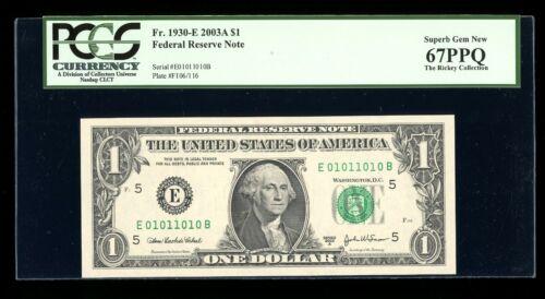 DBR 2003-A $1 Binary 1/0 Richmond Fr. 1930-E PCGS 67 PPQ Serial E01011010B