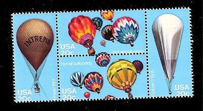 US 1983 SC# 2032 - 2035 a - 20 c  Balloons  Mint NH Block of 4 - Crisp - Mint Colored Balloons