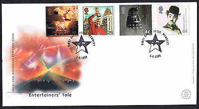 The Entertainers' Tale 1999 First Day Cover - SG2092 to SG2095 Wembley Cancel