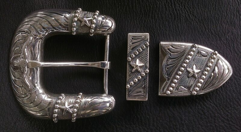 """1 1/2"""" Hand Engraved Silver Buckle Set w/ Longhorn, Stars, & Antique finish"""