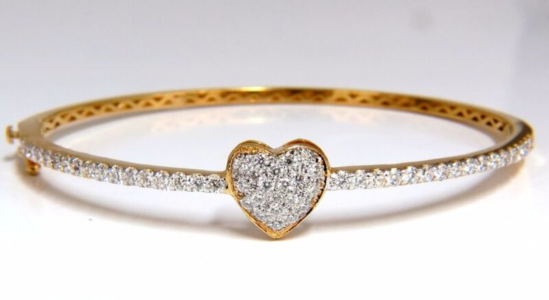 Diamonds Heart Bangle Bracelet 1.30ct G/vs 14kt+