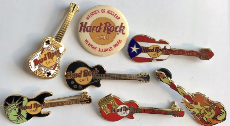 Hard Rock Cafe Guitar HRC Lot 7 Pins Puerto Rico Paris New York Las Vegas