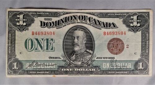 1923 Canada Regular Issue Note Bronze Seal Group 2 $1 McCavour/Saunders Circ.