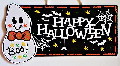 HAPPY HALLOWEEN GHOST SIGN Autumn Fall Decor Wall Art Door Hanger Plaque - Halloween Ghost Sign