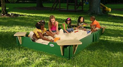 5' by 10' Sandbox - With Cover, 4-Corner Seats, Ground Barrier, 24 -