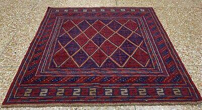 New Afghan Hand Woven Mashwani Gazak Wool Kilim Area Rug 4 x 4 Ft (1838 HMN)