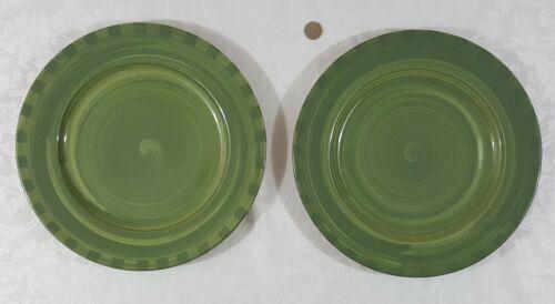 2 HTF HARTSTONE SERVICE PLATES TONE ON TONE MOSS GREEN CHECKS SERVING PLATTERS