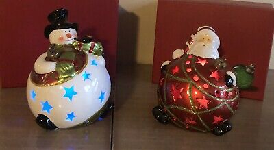 Home Reflections Decor Large Light Up Color Changing Santa & Snowman Mint