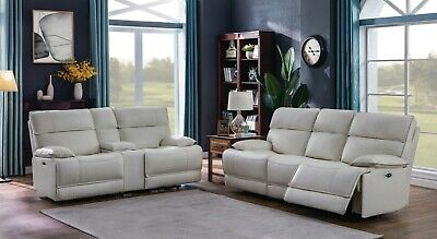 TOP GRAIN WHITE LEATHER POWER RECLINING SOFA LOVESEAT LIVING ROOM FURNITURE