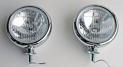 "1947-1955 Chevy Truck 1939-1948 CLEAR 6 volt 5"" Chrome Fog or Driving Lights Pr"