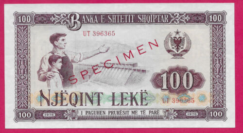 ALBANIA SPECIMEN 100 LEKE 1976 UNC WORKER AND BOY AT HYDROELECTRIC DAM AT LEFT C