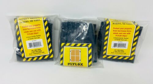 """3: PLYLOX Black Carbon Steel Hurricane Window Clips For 1/2"""" Plywood~* 60 CLIPS*"""