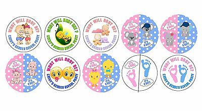 30 Gender Reveal Party Stickers Lollipop Labels Party Favors 1.5 in YOU - Gender Reveal Stickers