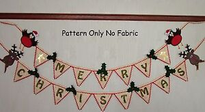 PATCHWORK / QUILTING APPLIQUE CHRISTMAS BUNTING  SEWING PATTERN by Gail