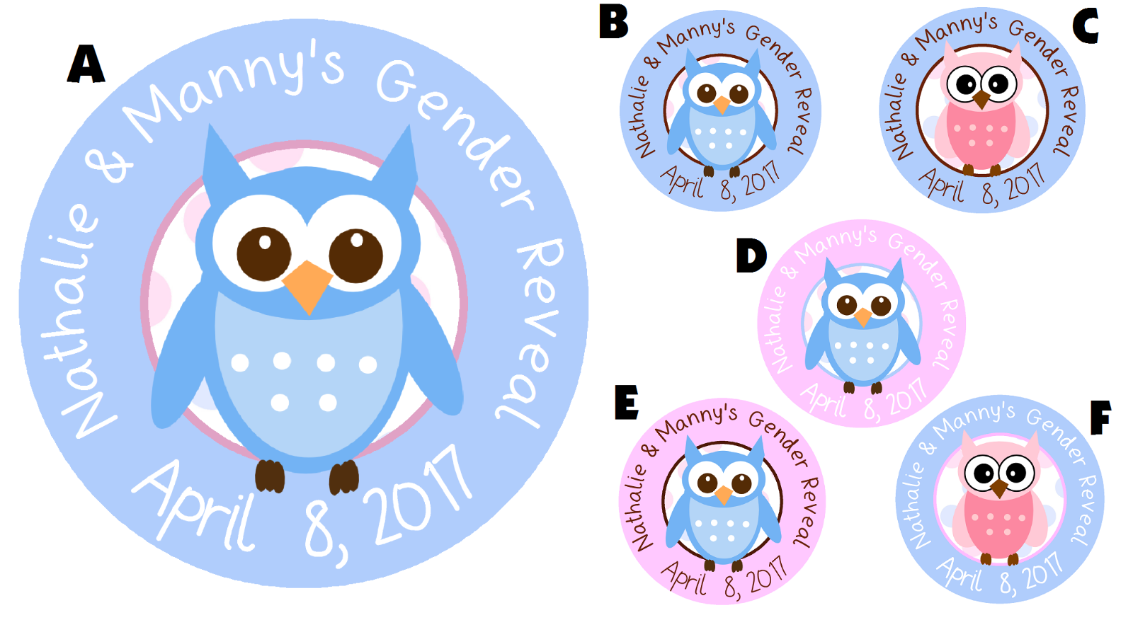 OWL GENDER REVEAL PARTY PERSONALIZED ROUND STICKERS FAVORS O