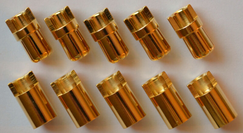 5 Male / 5 Female Polymax 6.5MM Gold Plated Bullet Connector Plugs - 100+ Amps