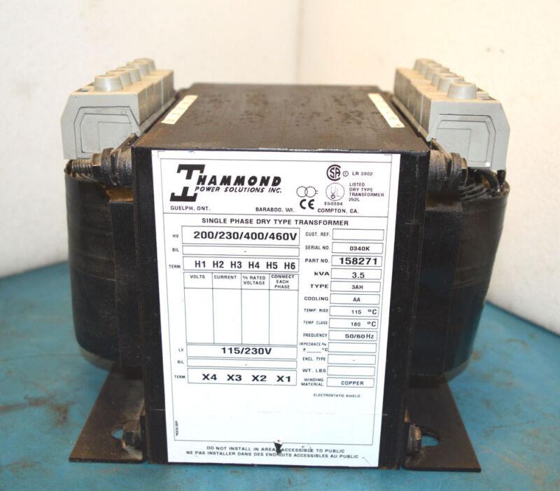 Hammond 158271 1-Ph 3.5-kVA Dry Transformer HV:200/230/400/460V LV:115/230V CU
