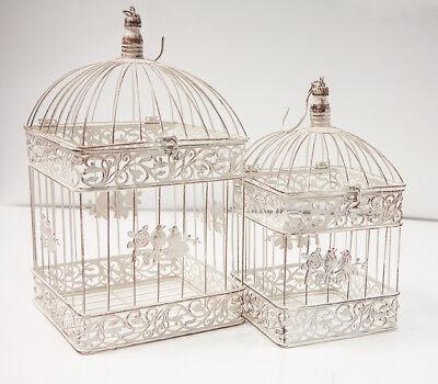 Rustikale Eckig Vogelkäfig Set 2 - Dt1002 Hochzeits Dekor Tafelaufsatz Heim