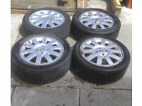 "set of genuine renault 16"" alloy wheels with all center caps , 4 x 100 pcd"
