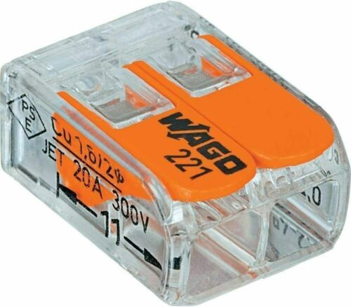 Wago 221-412 LEVER-NUTS 2 Conductor Compact Wire Connectors UL Listed