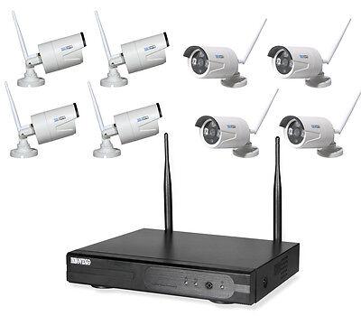 WLAN HD 8 KANAL Überwachungsset Videoüberwachung FUNK Fernzugriff IP Kamera IR