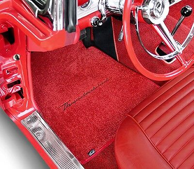 NEW! 1955-1957 RED Floor Mats T-Bird Thunderbird with Script Logo Pair Set](T Bird Logo)
