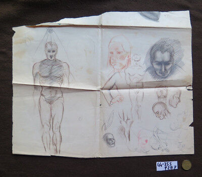 Zeichnung Studio (Zeichnung Jahrgang Studio für Gesichter und Korps Echthaar Bleistift auf Katalog)