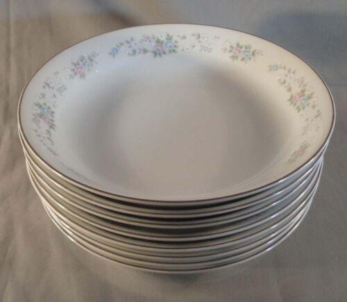 """Set of 8 Carlton China Corsage 481 7-1/2"""" Soup Salad Bowls Japan"""