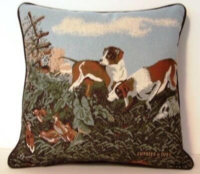 Hunting - Bird Dogs Sniffing Out The Quai, By Currier & Ives Tapestry Pillow New