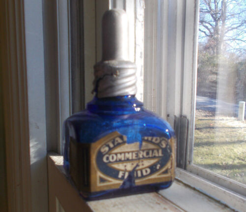 COBALT S.S.STAFFORD NY EMB & LABEL COMMERCIAL FLUID INK BOTTLE WITH TOP