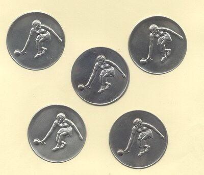 "5 Stück Zinn - Embleme "" Kegeln "" für Pokale / Medaillen 5 cm"