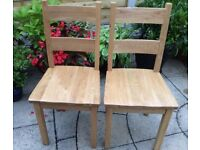Pair Of Solid Oak Dining Chairs, Unused !!