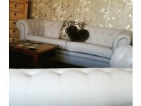 Pale Grey Chesterfield 2 & 3 Seater Sofas 250 ono